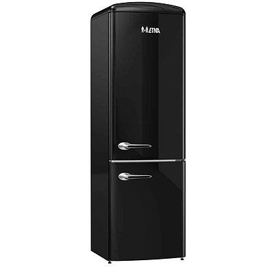 ETNA KVV594ZWA - Vrijstaande 2-deurs retro koel-vriescombinatie (194 cm), Zwart