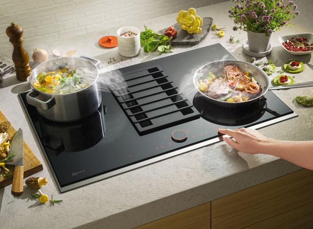 NEFF kookplaat met geïntegreerde afzuiging.