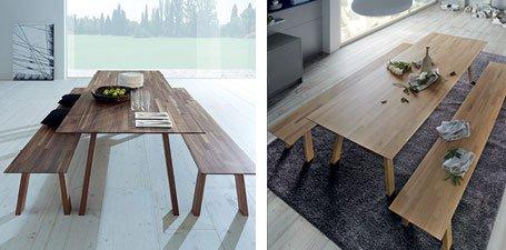 NT 1 Tafel en bank in volledig massief hout met een geolied oppervlak