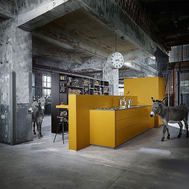 Campagne 7: next125 keuken in saffraangeel satijn met een Catalaanse reuzenezel en twee dwergezels.