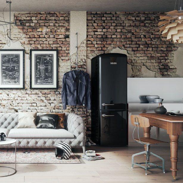 ETNA Retro koelkast voor oude muur