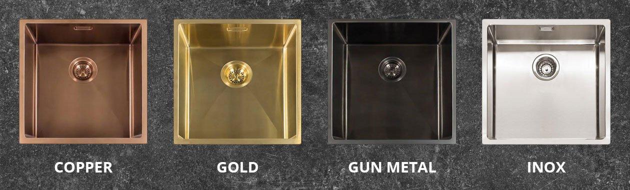 Selsiuz spoelbakken in de kleuren: Copper, Gold, Gun Metal en Inox.