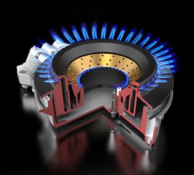 De vlammenpoortjes in de binnenring zijn zo gepositioneerd dat de vlam krachtig, heet, kernachtig én mooi laag blijft.